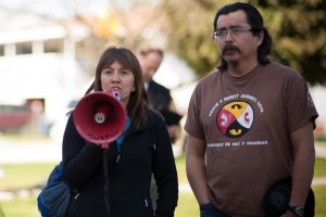 Freda Huson and Toghestiy speaking out against the dangers of fracked gas and tar sands oil