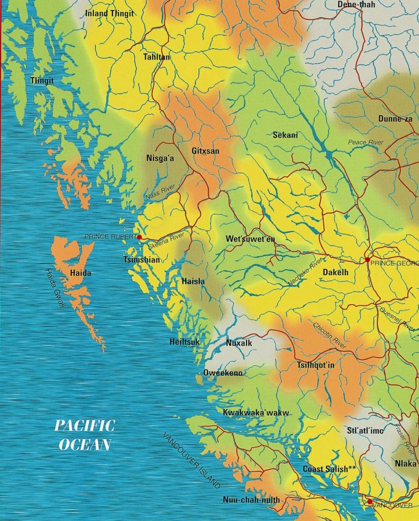 Map of northern BC First Nations
